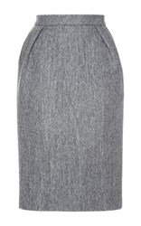 Dice Kayek Knee Length Wool Pencil Skirt Grey