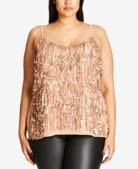 City Chic Plus Size Sequined Fringe Tank Top Rose Gold
