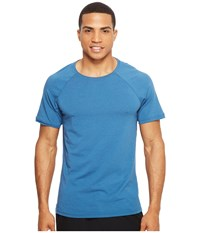 Manduka Transcend Performance Raglan Tee Aqua Men's T Shirt Blue