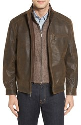 Missani Le Collezioni Men's Vintage Lambskin Suede Jacket With Detachable Bib Rust