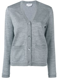 Thom Browne Pointelle Rib Trims Cardigan Grey