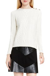 Vince Camuto Women's Button Shoulder Cable Knit Cotton Blend Sweater