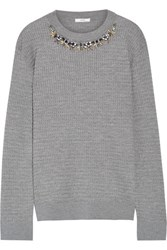 Erdem Lana Crystal Embellished Cable Knit Stretch Wool Blend Sweater Gray