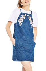 Topshop Women's Tulip Embroidered Pinafore Dress Mid Denim Multi