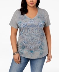 Styleandco. Style Co Plus Size V Neck Graphic Top Grey