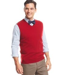 Club Room Cashmere Solid Sweater Vest Regatta Red