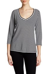 14Th And Union Striped V Neck Tee Petite Black