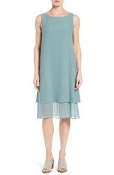 Eileen Fisher Women's Silk Georgette Shift Dress Blue Steel