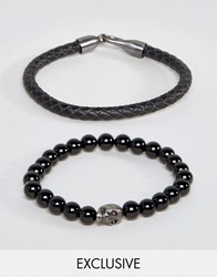 Simon Carter Leather And Onyx Beaded Bracelet Set With Antiqued Skull Exclusive To Asos Black