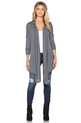 Michael Stars Long Sleeve Open Front Hi Low Convertible Cardigan Gray
