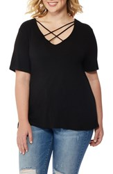 Rebel Wilson X Angels Plus Size Women's Cross Strap V Neck Tee Black