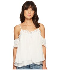 Miss Me Lace Floral Open Shoulder Top White Clothing