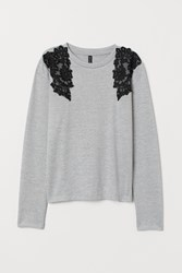 Handm H M Sweater With Lace Details Gray