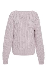I Love Mr. Mittens Cable Knit Cotton Sweater Purple