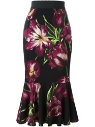 Dolce And Gabbana Tulip Print Fluted Skirt Black