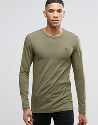 Religion Crew Neck Long Sleeve T Shirt In Muscle Fit Khaki Red