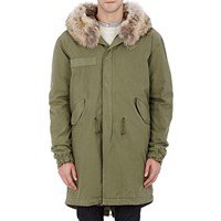 Mr And Mrs Italy Fur Lined Canvas Long Parka Green