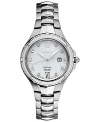 Seiko Women's Solar Courtura Diamond Accent Stainless Steel Bracelet Watch 29Mm Sut307 Silver