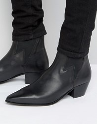 Asos Cuban Heel Boots In Black Leather With Lightening Detail Black