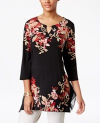 Jm Collection Floral Print Keyhole Tunic Only At Macy's Brentwood Blossom