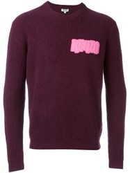 Kenzo Logo Patch Ribbed Jumper Pink And Purple