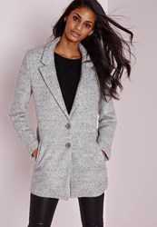 Missguided Short Wool Look Coat Grey Grey