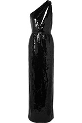 Saint Laurent One Shoulder Cutout Sequined Crepe Gown Black