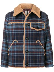 Santoni Shearling Lined Jacket Blue