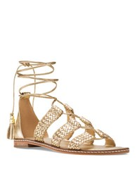 Michael Michael Kors Monterey Leather Gladiator Lace Up Sandals Pale Gold