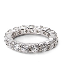 Crislu Sterling Silver Round Stone Eternity Band Ring