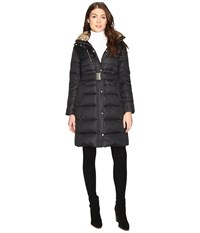 Cole Haan Signature Quilted Coat With Faux Fur Lining Black Women's Coat