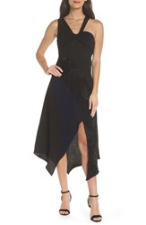 Harlyn Asymmetrical Mix Media Midi Dress Black Navy