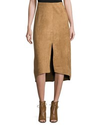 State Of Being Isabel Faux Suede High Low Skirt Tan