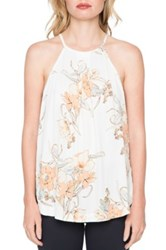 Willow And Clay Floral Print Halter Shirt Multi