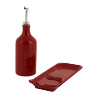 Emile Henry Oil Cruet And Spoon Rest Set Red