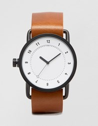 Tid No 1 Leather Watch In Tan With White Face Tan