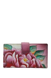 Anna By Anuschka Hand Painted Leather Two Fold Organizer Wallet Multi