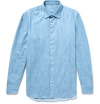 Caruso Slim Fit End On End Cotton Chambray Shirt Blue