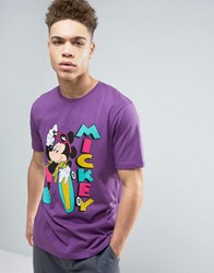 Asos Mickey Mouse T Shirt With Surfboard Print Mangosteen Purple