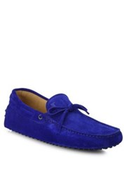 Tod's Suede Lace Up Drivers Electric Blue