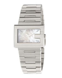 Gucci G Rectangle Stainless Steel Watch White