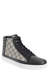 Men's Gucci 'Common' High Top Sneaker Blue Beige Leather Fabric