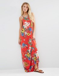 Asos Pleated Cami Maxi Dress Red Floral Print Multi