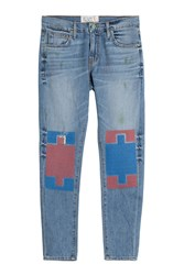 Sandrine Rose Sandrine Rose Straight Leg Jeans With Contrast Knee Patches Blue