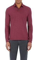 Zanone Men's Jersey Long Sleeve Polo Shirt Burgundy