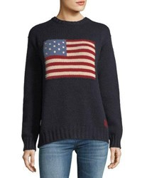 Ralph Lauren Crewneck Long Sleeve Cashmere Pullover Sweater With Flag Navy