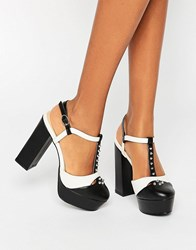 Daisy Street T Bar Studded Mega Platform Shoes Black White Multi