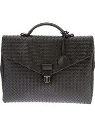 Bottega Veneta Intrecciato Briefcase Grey