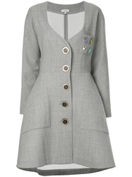 Natasha Zinko Sweetheart Neck Button Coat Nylon Polyester Polyurethane Wool Grey