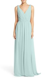 Hayley Paige Occasions Women's Embellished Shoulder V Neck Chiffon Gown Ice Blue
